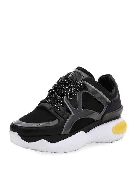 ede34f9c9e Leather and Mesh Trainer Sneakers