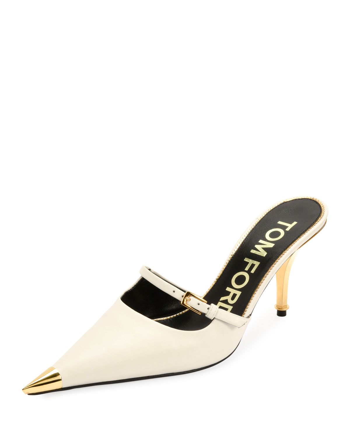 Tom Ford Slippers Leather Pointed Cap-Toe Slide Mules