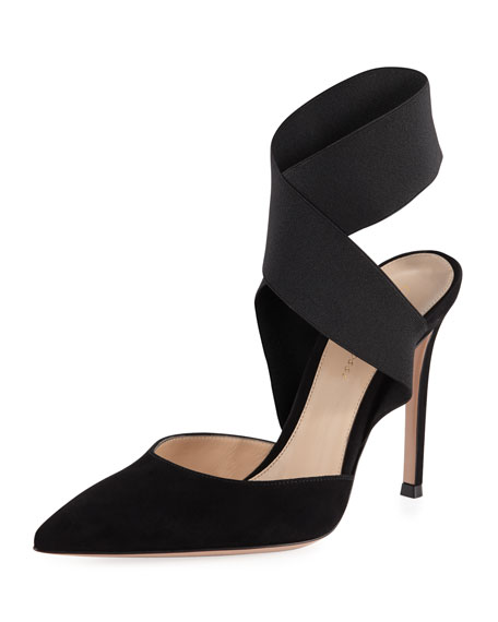 Suede Pumps with Crisscross Elastic Strap