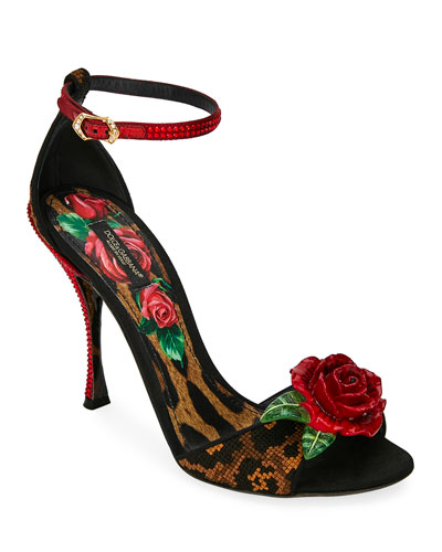 Leopard and Rose Sandals