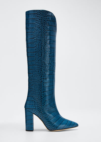 Python-Print Pointed Knee Boots