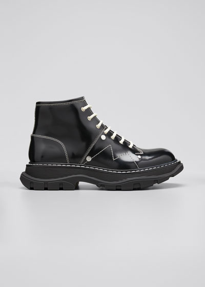 Patent Leather Lace-Up Boots