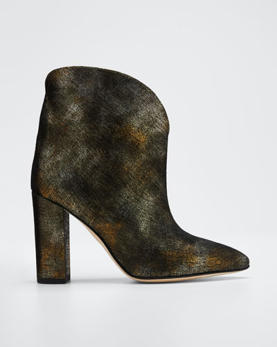 100 mm Metallic Leather Ankle Booties