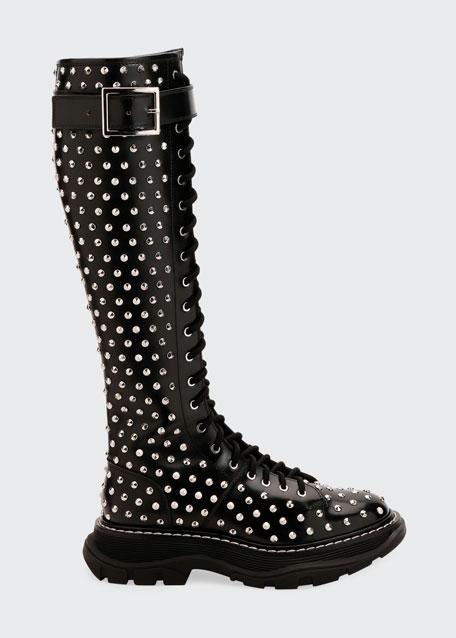 Spike Studded Knee Boots