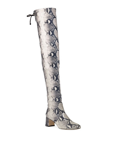 Kirstie 60mm Python-Print Leather  Over-The-Knee Boots