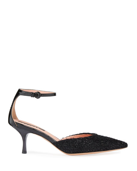 Suede Boucle Frayed Ankle-Strap Pumps