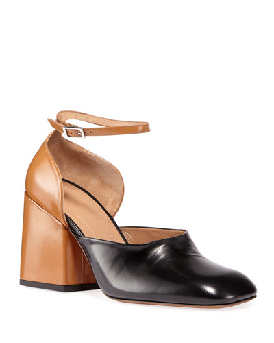 Two-Tone Ankle Wrap Block-Heel Pumps
