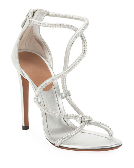 Twisted Studded Metallic Leather Sandals
