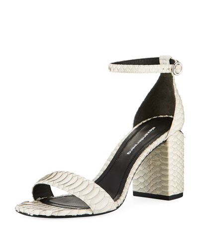 Abby Block-Heel Watersnake Sandals