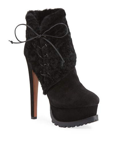 Side-Lace Lamb-Fur Platform Booties