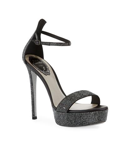 Embellished Ankle-Strap Platform Sandals