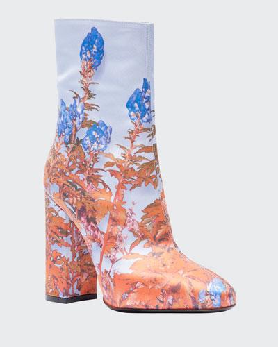 Flower-Print Fabric Booties