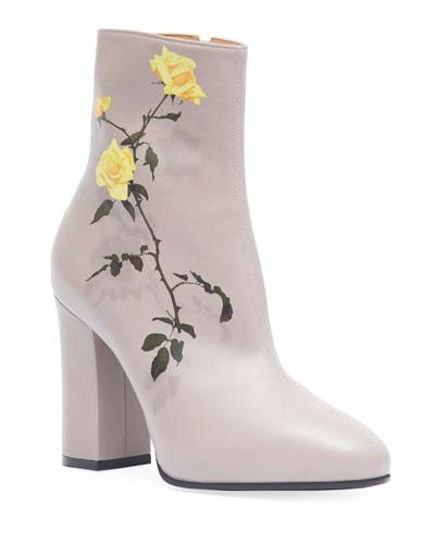 Midbrown Printed Floral Leather Booties