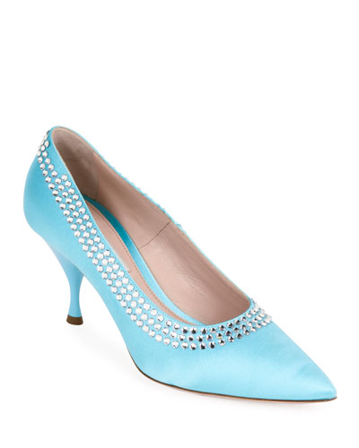 Pointed Satin Crystal-Trim Pumps