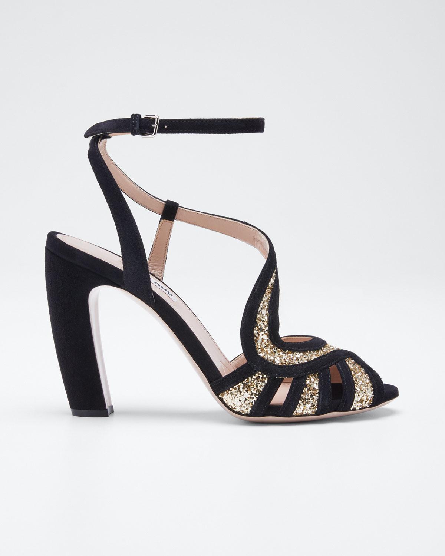 Miu Miu Sandals Glitter and Suede Sandals