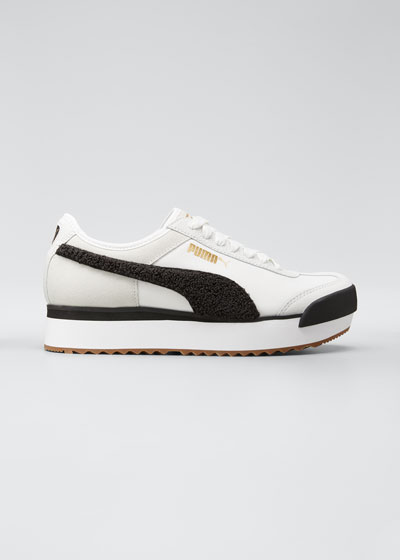 Roma Amor Mixed Leather Platform Sneakers