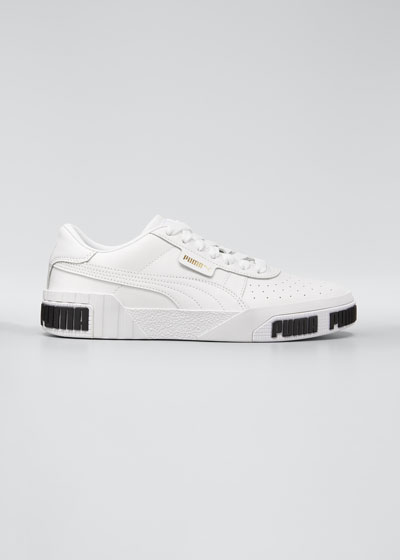 Cali Perforated Leather Low-Top Sneakers, White