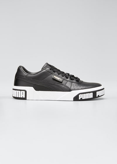 Cali Perforated Leather Low-Top Sneakers, Black