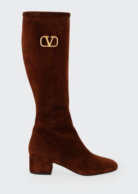 V Logo Suede Knee-High Boots