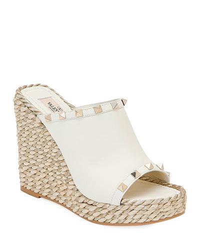 Rockstud Leather Wedge Espadrille Sandals