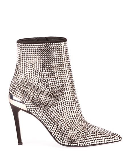 Crystal-Embellished Leather Cocktail Booties