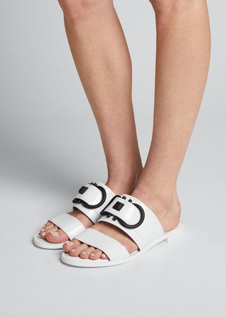 Taryn Two-Tone Jelly Logo Slide Sandals