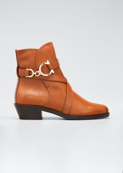 Shadi Strap Leather Zip Booties