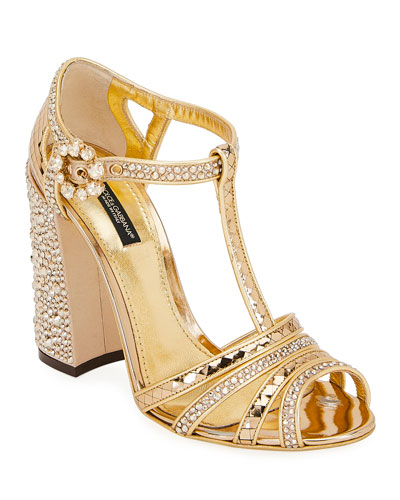 T-Strap Glitter Metallic Sandals