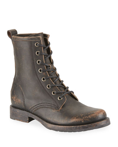Veronica Rustic Leather Combat Booties