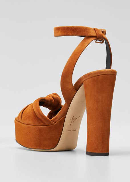Suede Knotted Platform Sandals