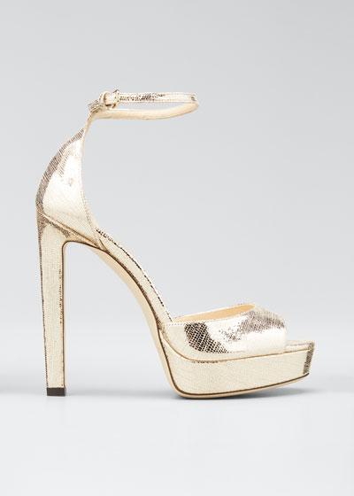 Pattie Lizard-Print Metallic Platform Sandals
