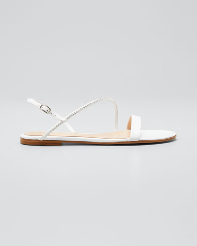Asymmetric Leather Flat Sandals