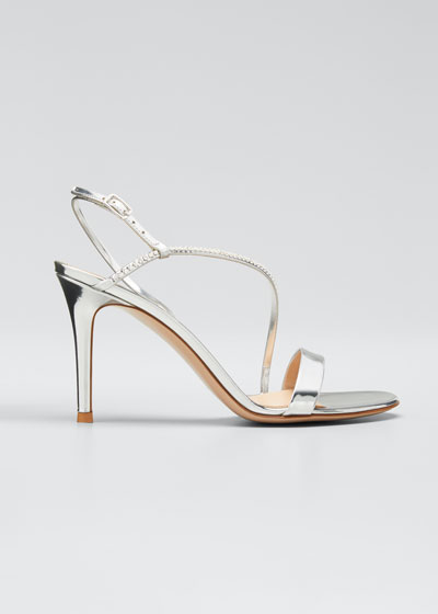 Shimmery Studded Metallic Asymmetric Sandals