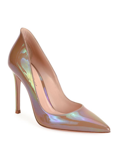 Pointed-Toe Oil Patent High-Back Pumps