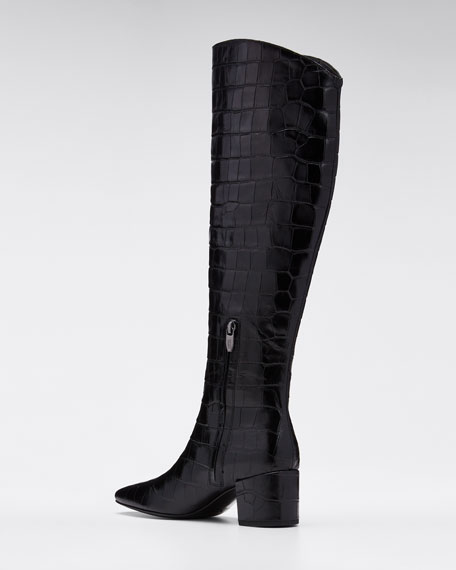 Paislee 65mm Croc-Embossed Leather Boots