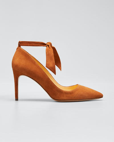 Clarita Knotted Suede Ankle-Wrap Pumps