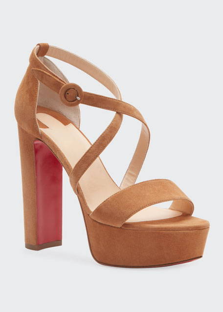 Loubi Suede Red Sole Platform Sandals