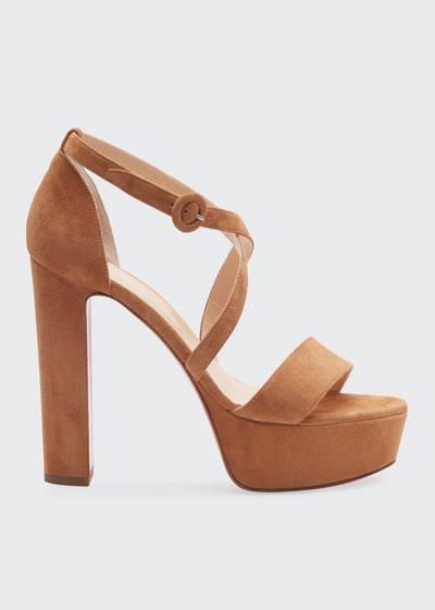 Loubi Suede Red Sole Platform Sandals