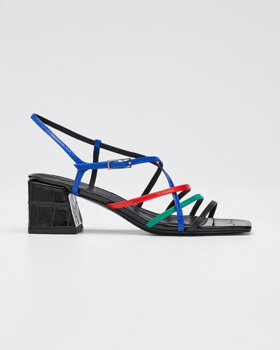 Ellia Crisscross Colorblock Leather Strappy Sandals