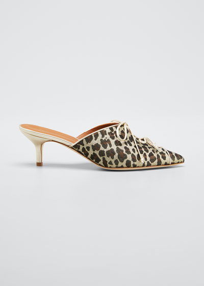 Victoria Metallic Leopard-Print Mules