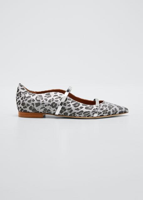 Maureen Metallic Leopard-Print Ballerina Flats