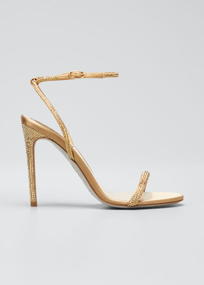 Crystal-Embellished Satin Ankle-Strap Sandals