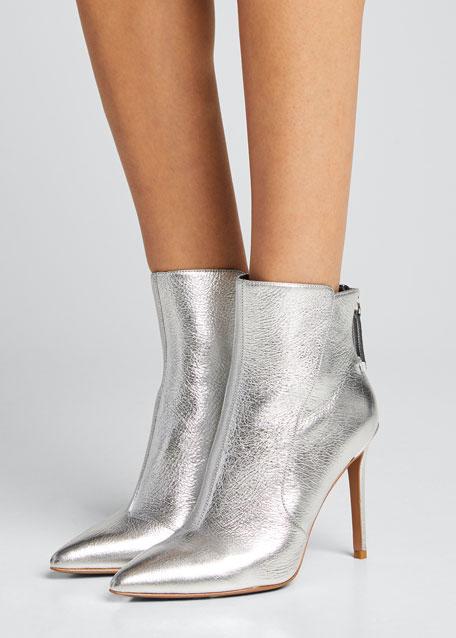 Jovanna Metallic Leather Stiletto Booties