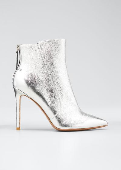Jovanna Metallic Leather Stiletto Booties