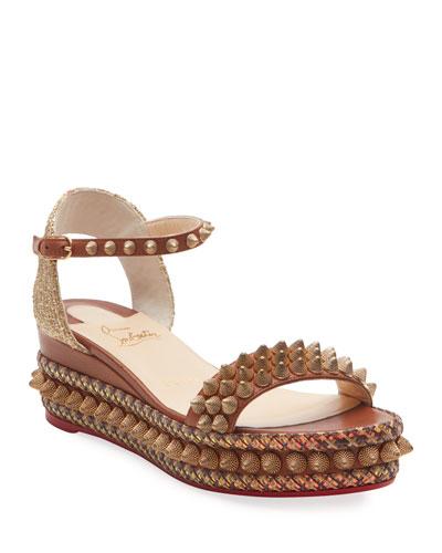 Cordorella 60mm Spike Wedge Red Sole Sandals