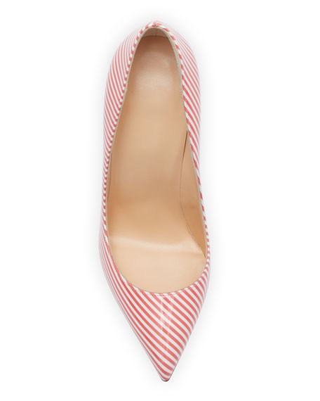 Pigalle Follies 100mm Striped Red Sole Pumps