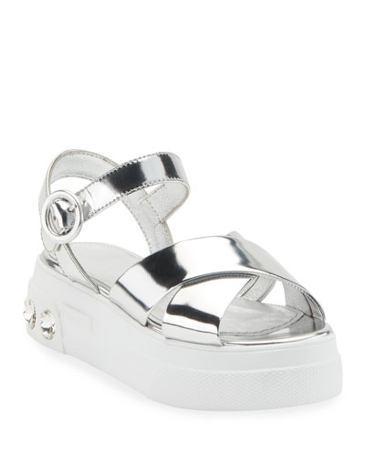 Metallic Leather Flatform Sandals