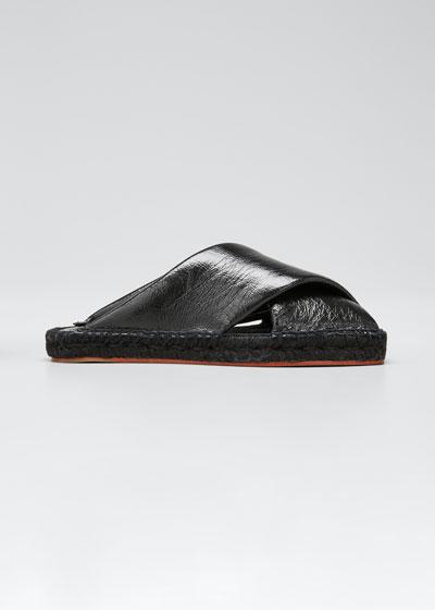 Leather Peep-Toe Espadrille Slide Sandals