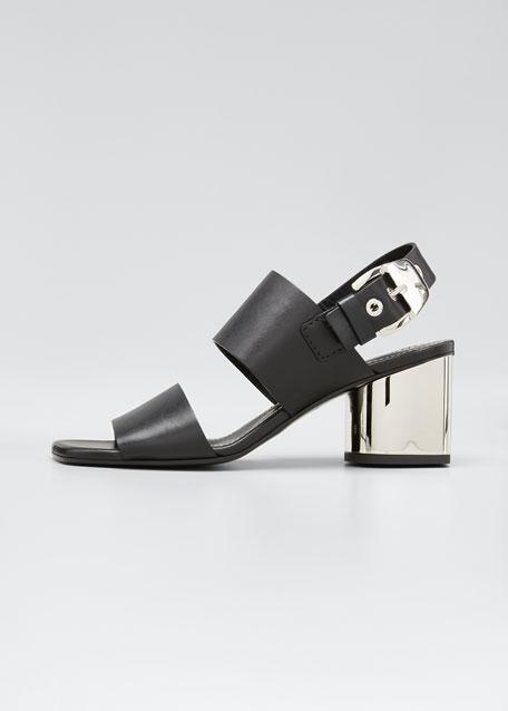 Tesla Metallic-Heel Sandals