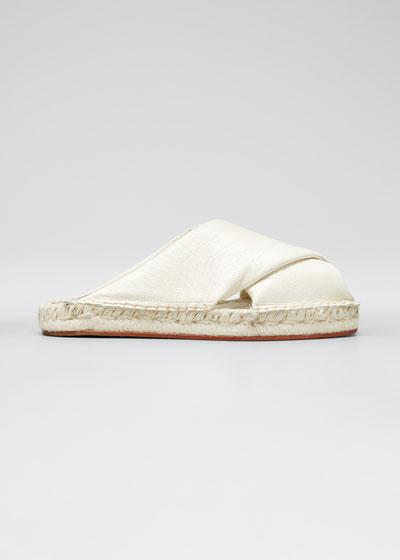 Leather Peep-Toe Espadrille Slide Sandals  White